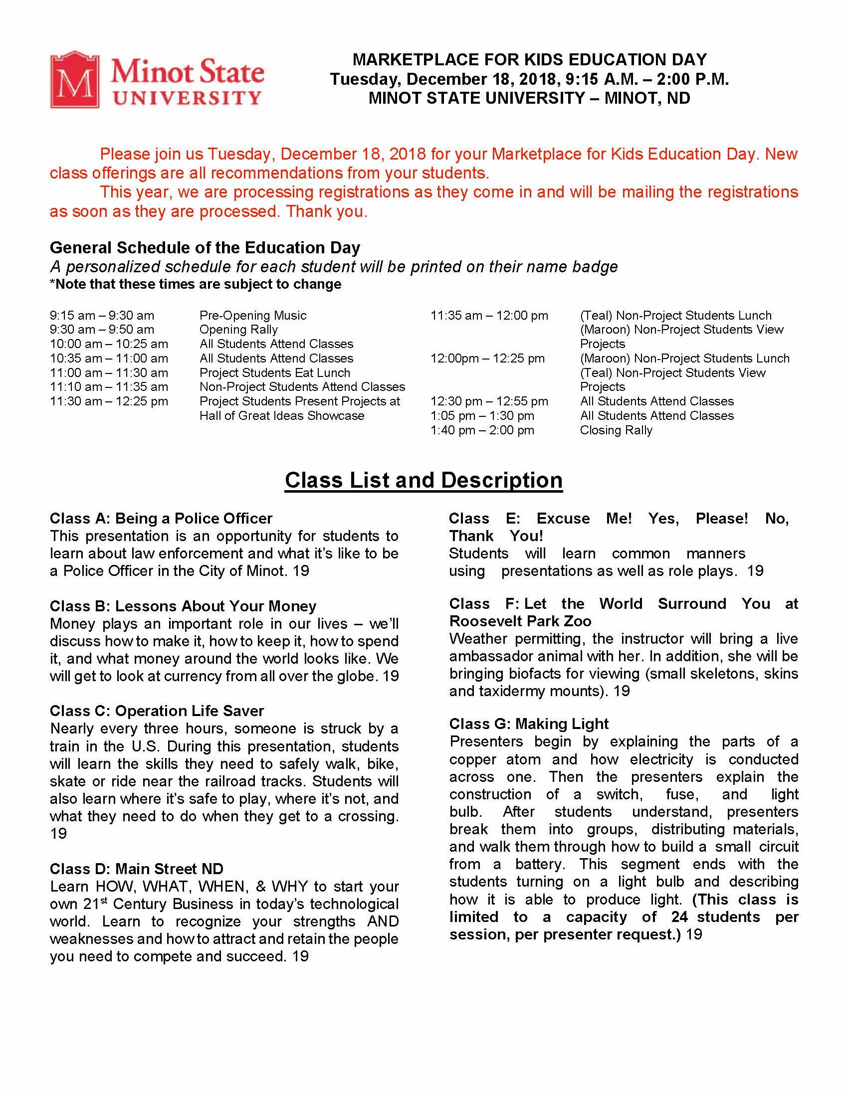 Minot Class Descriptions