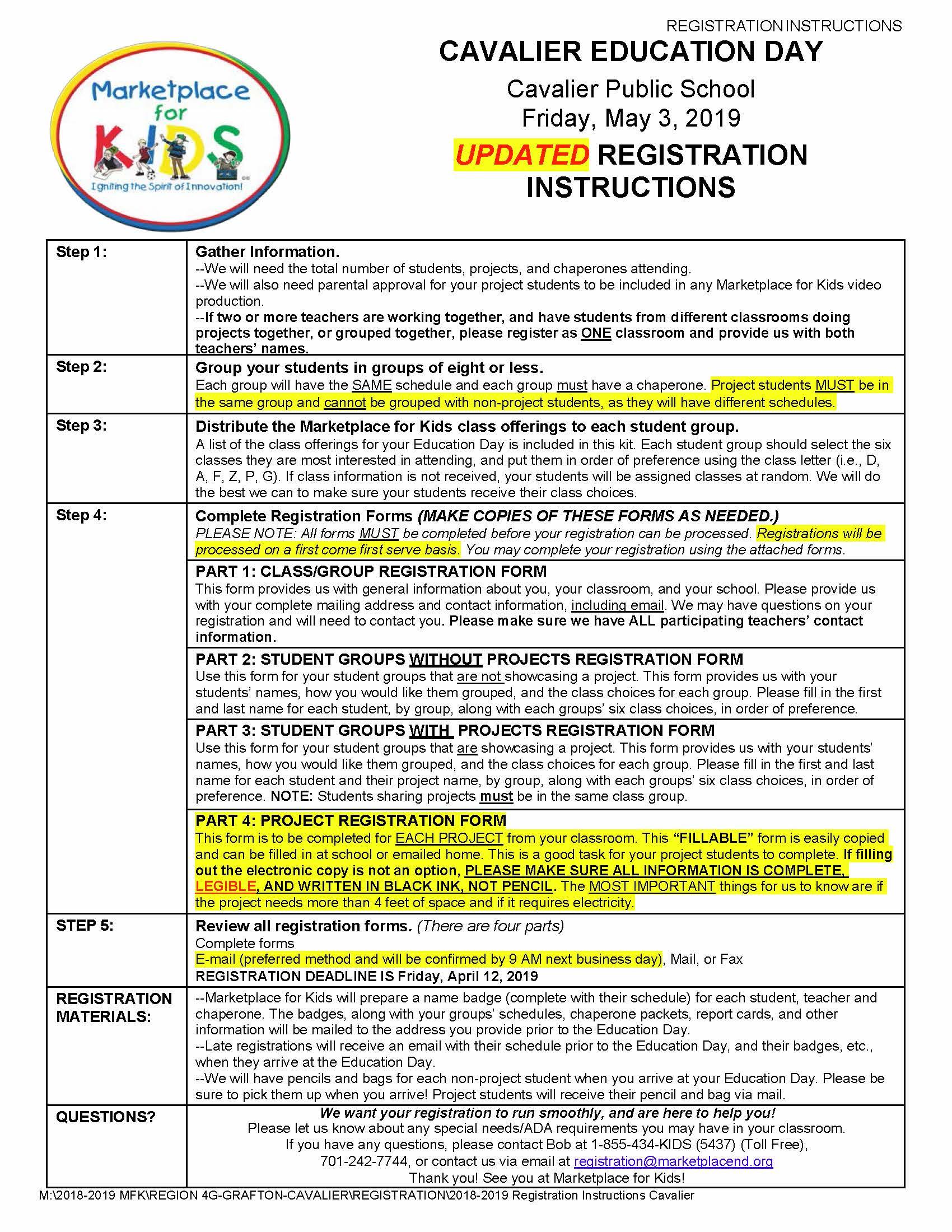Cavalier Registration Instructions
