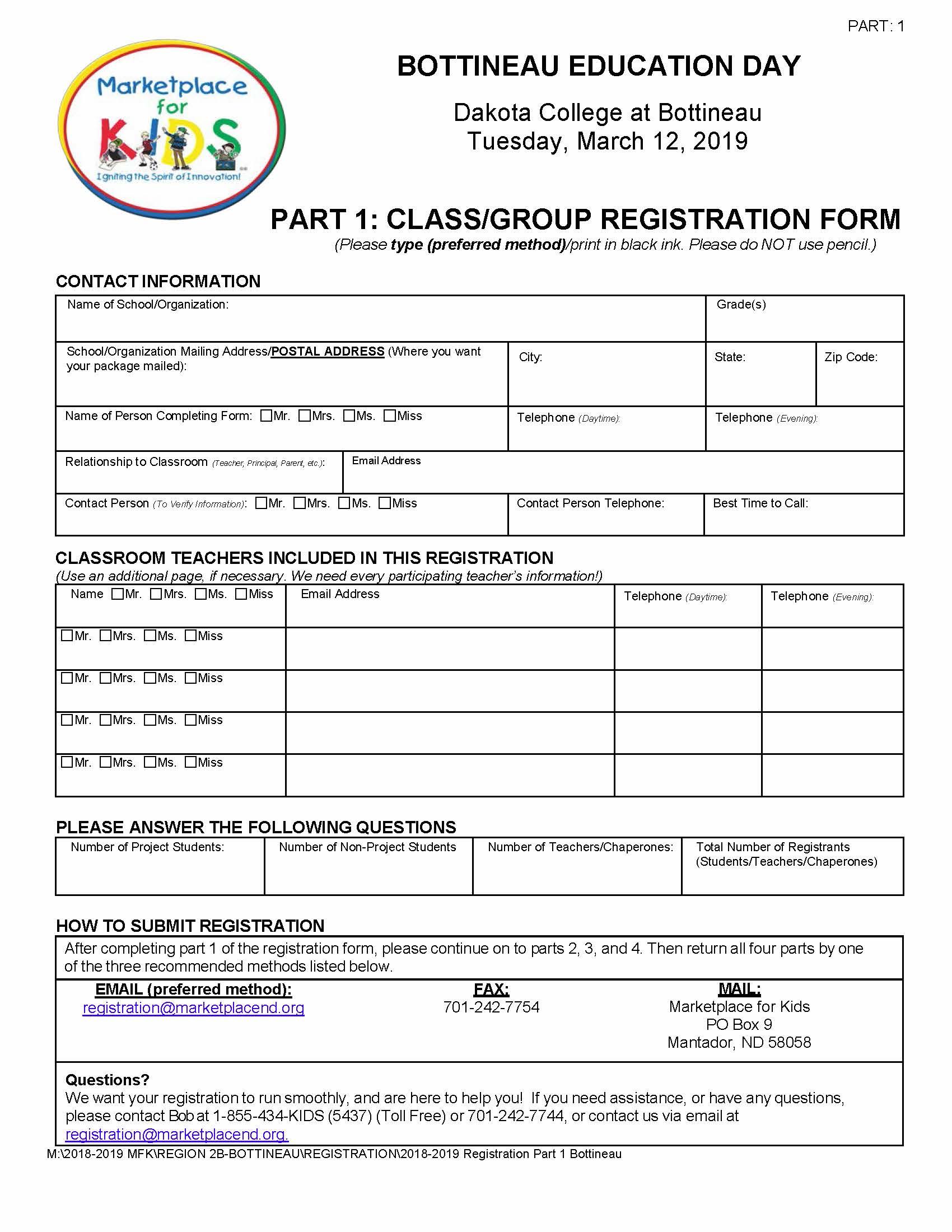 Bottineau Registration Part 1